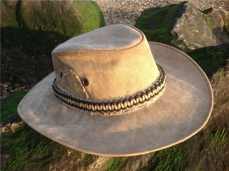 Olive black para cord hatband with turks head sliding for Fly fishing hat