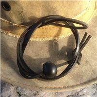 Black leather hat lanyard