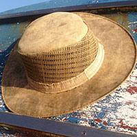Side Vented Wide Brim Canvas Tarp Hat with Portuguese markings
